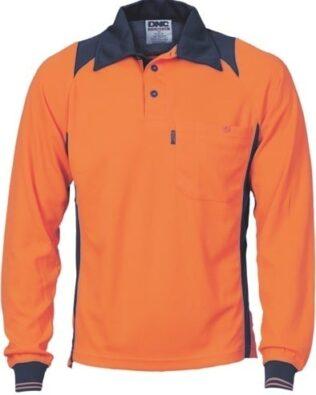 DNC Workwear Cool Breathe Action Polo Shirt Long Sleeve