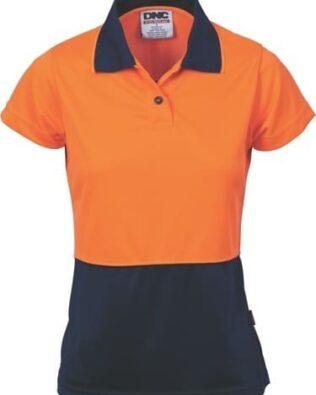 DNC Workwear Ladies Hi Vis Two Tone Polo Short Sleeve