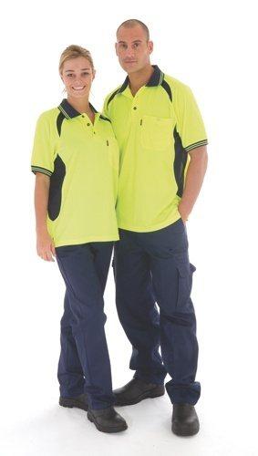 DNC Workwear Cool-Breeze Contrast Mesh Polo Short Sleeve