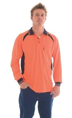 DNC Workwear Cool-Breeze Contrast Mesh Polo Long Sleeve