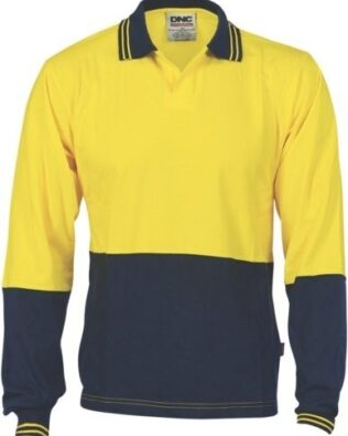 DNC Workwear Hi Vis Cool Breeze Cotton Jersey Food Industry Polo Long Sleeve