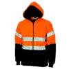 DNC Workwear Hi Vis full zip polar fleece hoodie with CSR R/tape