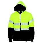 DNC Workwear Hi Vis full zip polar fleece hoodie with CSR Reflective Tape