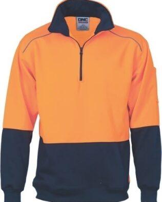 DNC Workwear Hi Vis 2 tone full zip super fleecy hoodie with CSR Reflective Tape