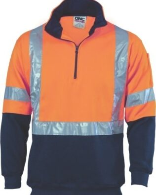 DNC Workwear Hi Vis 1/2 Zip Fleecy with X Back & additional Tape on Tail