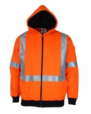 DNC Workwear Hi Vis Full Zip Fleecy Hoody With 'X' Back