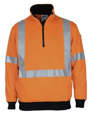 DNC Workwear Hi Vis X Back 1/2 Zip Cotton Jumper