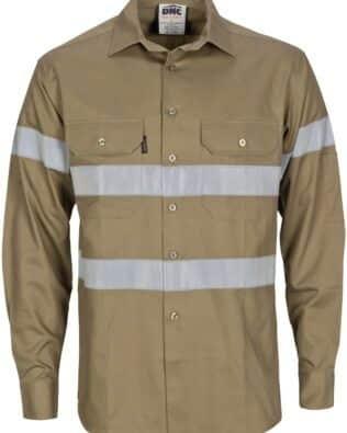 DNC Workwear Hi Vis Cool-Breeze Cotton Shirt With CSR R/Tape – LS