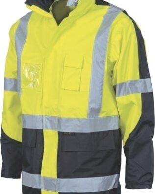 DNC Workwear Hi Vis 2 Tone Cross Back D/N 2 in 1 Contrast Rain Jacket