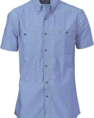DNC Workwear Cotton Chambray Shirt  Twin Pocket Short Sleeve