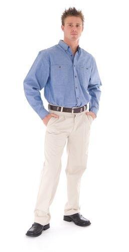 DNC Workwear Cotton Chambray Shirt  Twin Pocket Long Sleeve