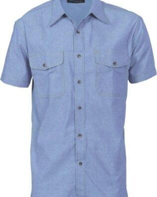 DNC Workwear Mens Twin Flap Pocket Cotton Chambray Short Sleeve