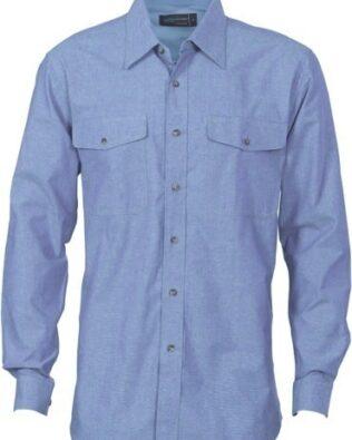 DNC Workwear Mens Twin Flap Pocket Cotton Chambray Long Sleeve