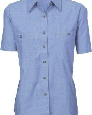 DNC Workwear Ladies Cotton Chambray Shirt Short Sleeve