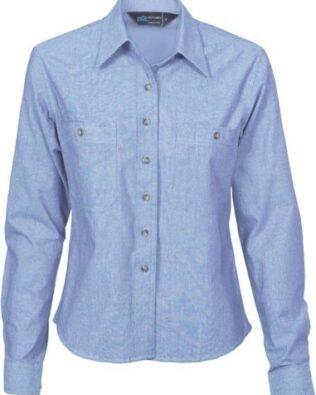 DNC Workwear Ladies Cotton Chambray Shirt Long Sleeve