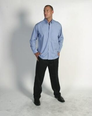 DNC Workwear Polyester Cotton Chambray Business Shirt Long Sleeve