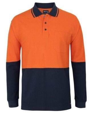 JBs Workwear Hi Vis Long Sleeve Cotton Pique Trad Polo