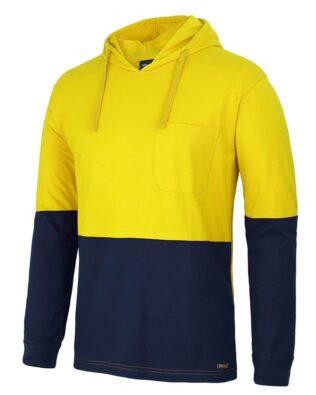 JBs Workwear JBs Hi Vis Long Sleeve Cotton Tee With Hood