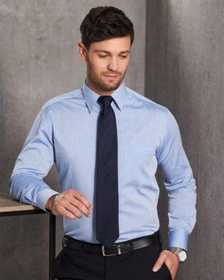 Benchmark Mens Fine Chambray Long Sleeve Shirt
