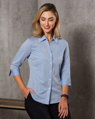 Benchmark Womens Fine Chambray 3/4 Sleeve Shirt