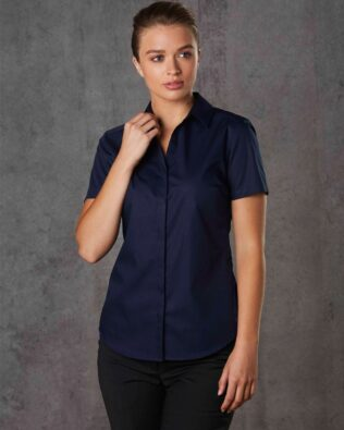 Benchmark Barkley Ladies Taped Seam Short Sleeve Shirt