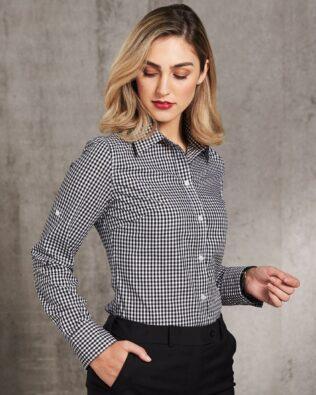 Benchmark Ladies Gingham Check Long Sleeve Shirt