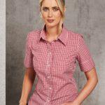 Benchmark Ladies Gingham Check Short Sleeve Shirt