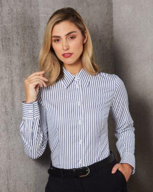 Benchmark Ladies Executive Sateen Stripe Long Sleeve Shirt
