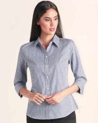 Benchmark Ladies Multi-Tone Check 3/4 Sleeve Shirt