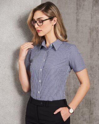 Benchmark Ladies Multi-Tone Check Short Sleeve Shirt