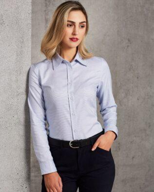 Benchmark Ladies Dot Contrast Long Sleeve Shirt