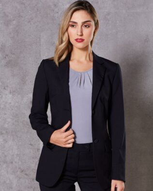 Benchmark Womens Wool Blend Stretch Mid Length Jacket