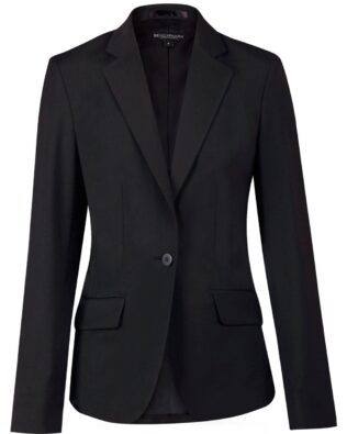 Benchmark Ladies Wool Blend Stretch One Button Cropped Jacket