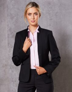 Benchmark Ladies Wool Blend Stretch Reverse Lapel Jacket