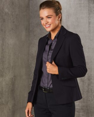 Benchmark Womens Poly Viscose Stretch One Button Cropped Jacket