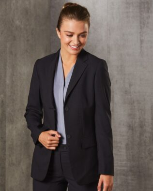 Benchmark Womens Poly Viscose Stretch Two Buttons Mid Length Jacket