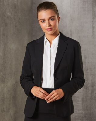 Benchmark Womens Poly Viscose Stretch Stripe One Button Cropped Jacket