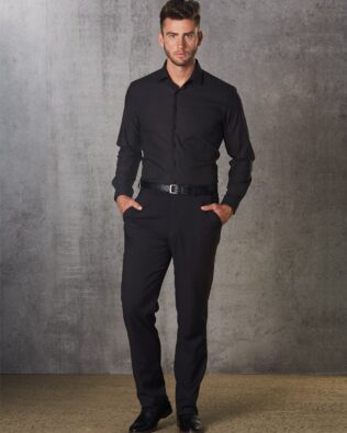 Benchmark Mens Polyviscose Flexi Waist Stretch Pants