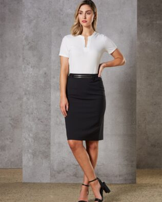 Benchmark Womens Wool Blend Stretch Mid Length Lined Pencil Skirt