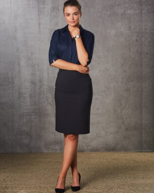 Benchmark Womens Poly Viscose Stretch Mid Length Lined Pencil Skirt