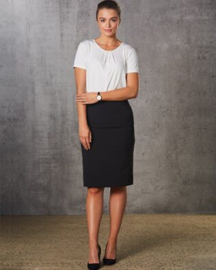 Benchmark Womens Poly Viscose Stretch Stripe Mid Length Lined Pencil Skirt