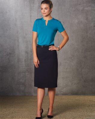 Benchmark Womens Poly Viscose Stretch Twill Flexi Waist A-Line Utility Lined Skirt