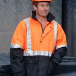 AIW Workwear Hi-Vis Two Tone Rain Proof Jacket with Quilt Lining