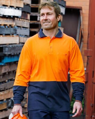 AIW Workwear Cotton Jersey Two Tone Long Sleeve Safety Polo