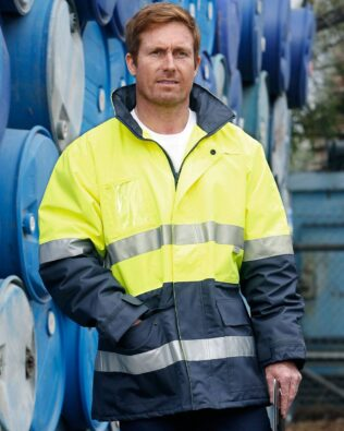 AIW Workwear Hi-Vis Long Line Jacket with Polar Fleece Lining