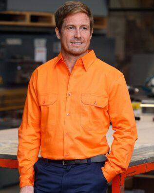 AIW Workwear Mens Hi-Vis Long Sleeve Drill Shirt