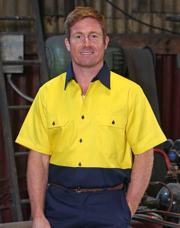 AIW Hi-Vis two tone S/S cotton work shirt