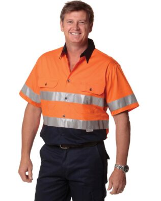 AIW Workwear Short Sleeve Safety Shirt with 3M Tape