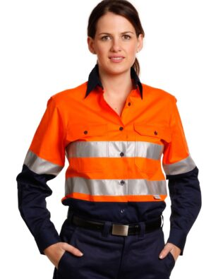 AIW Workwear Womens Long Sleeve Safety Shirt with 3M Tape