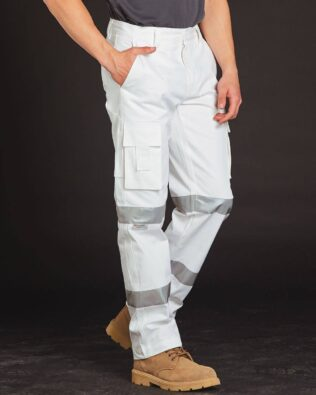 AIW Workwear Mens White Safety Pants with Biomotion Tape Configuration